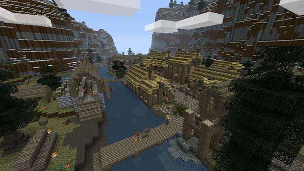 Visite locais icônicos como Riverwood em versão Minecraft (Foto: Kotaku)