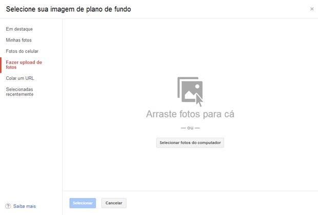 Selecione uma foto do computador para ser o plano de fundo do Gmail (Foto: Reprodução/Carolina Ribeiro)