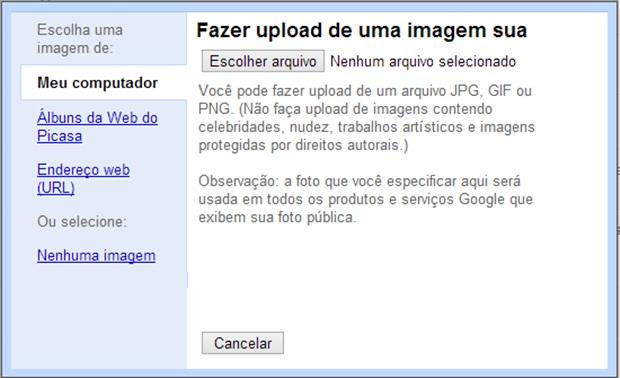 Selecione uma imagem do computador para ser a foto de perfil no Gmail (Foto: Reprodução/Carolina Ribeiro)