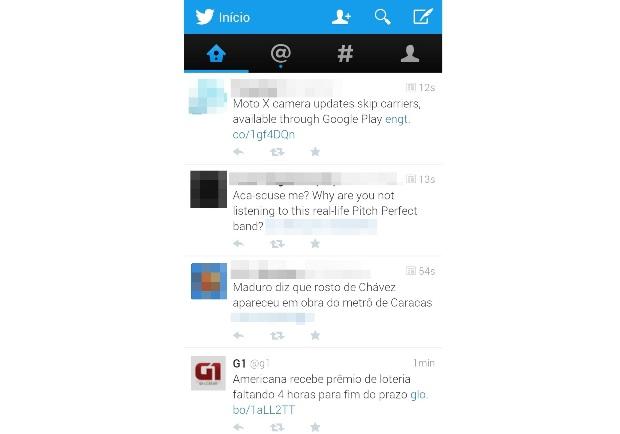 Aplicativo do Twitter para dispositivos móveis (Foto: Reprodução/Lívia Dâmaso)