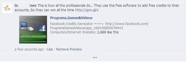 Link malicioso prometia créditos grátis no Facebook (foto: Reprodução/Hot for Security) (Foto: Link malicioso prometia créditos grátis no Facebook (foto: Reprodução/Hot for Security))