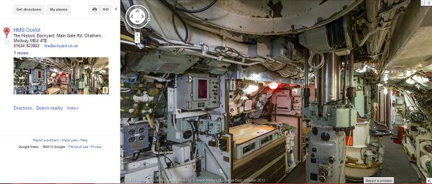 Google registra interior de submarino hist rico para o for Interior submarino