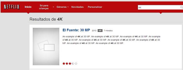 Testes do 4K podem ser vistos no Netflix (Foto: Reprodução/TechTudo)