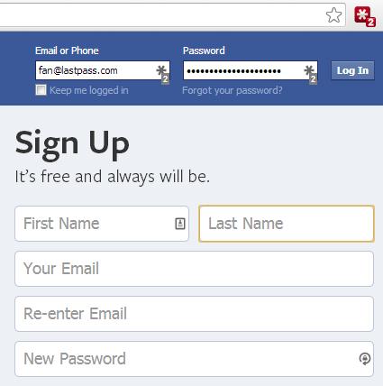 Para o preenchimento das senhas basta clicar no ícone do serviço no próprio navegador e selecionar a opção referente ao site. (Foto: Divulgação / LastPass)