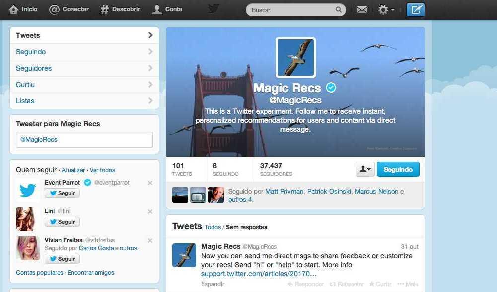 Perfil @MagicRecs sugere e conta com serviço de avaliação de recomendações por DMs. (Foto: TechTudo / Gisele Góes)
