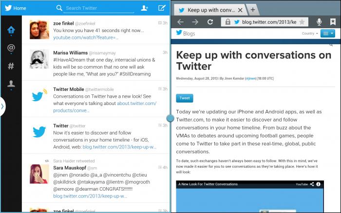 Tablets da Samsung agora contam com um aplicativo do Twitter exclusivo com suporte para múltiplas telas. (Foto: Reprodução / Twitter)