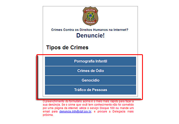 A página da PF traz quatro tipos de crimes contra os direitos humanos que podem ser denunciados online (Foto: Reprodução/Karla Soares)