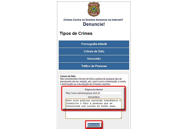 Para completar a reclamação, basta digitar o endereço do site e um texto descrevendo as práticas ilegais incentivadas pela página, e clicar em denunciar (Foto:   Reprodução/Karla Soares)