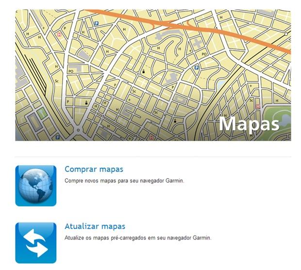 Escolha a opção de atualizar mapas dos GPS Garmin (Foto: Reprodução/Carolina Ribeiro)