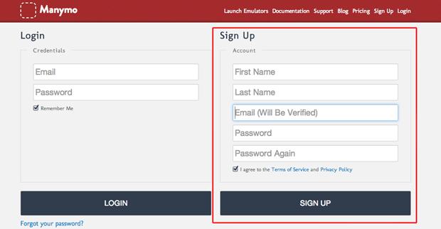 Criando uma conta no Manymo para utilizar o WhatApp direto do navegador web (Foto: Reprodução/Marvin Costa)