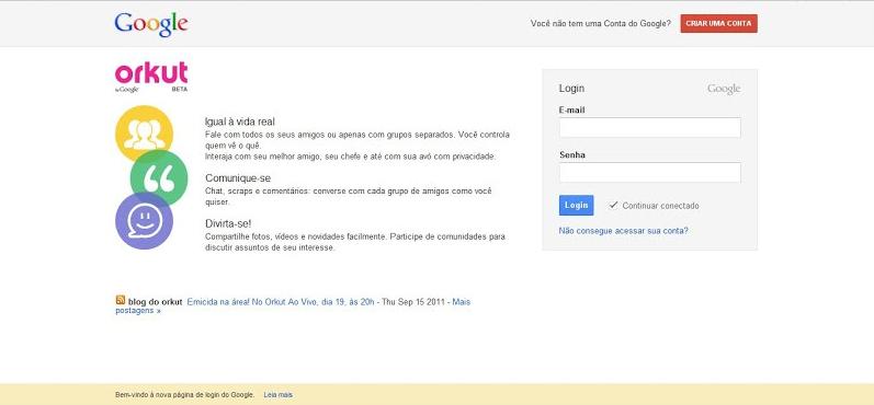 Antiga página de login do Orkut, agora substituída pelo Login Google  (Foto: Reprodução/Orkut)