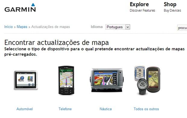 Selecione o tipo de aparelho para buscar atualizações de mapas (Foto: Reprodução/Carolina Ribeiro)