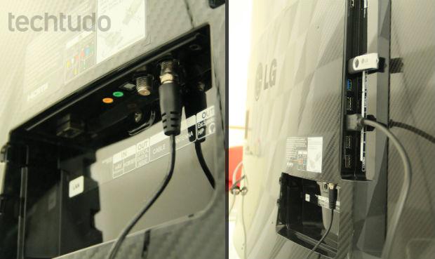 Com 3 portas USB, conexão bluetooth, 4 canais HDMI e tantas outras entradas, a OLED curva pode ser a central multimídia da casa (Foto: TechTudo/Renato Bazan)