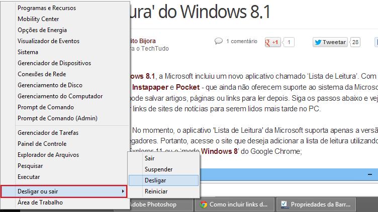 Desligando o computador a partir do botão Iniciar no desktop (foto: Reprodução/João Kurtz)