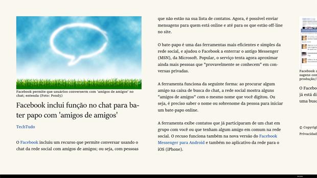 Usando o modo de leitura do Internet Explorer 11 (foto: Reprodução/João Kurtz)