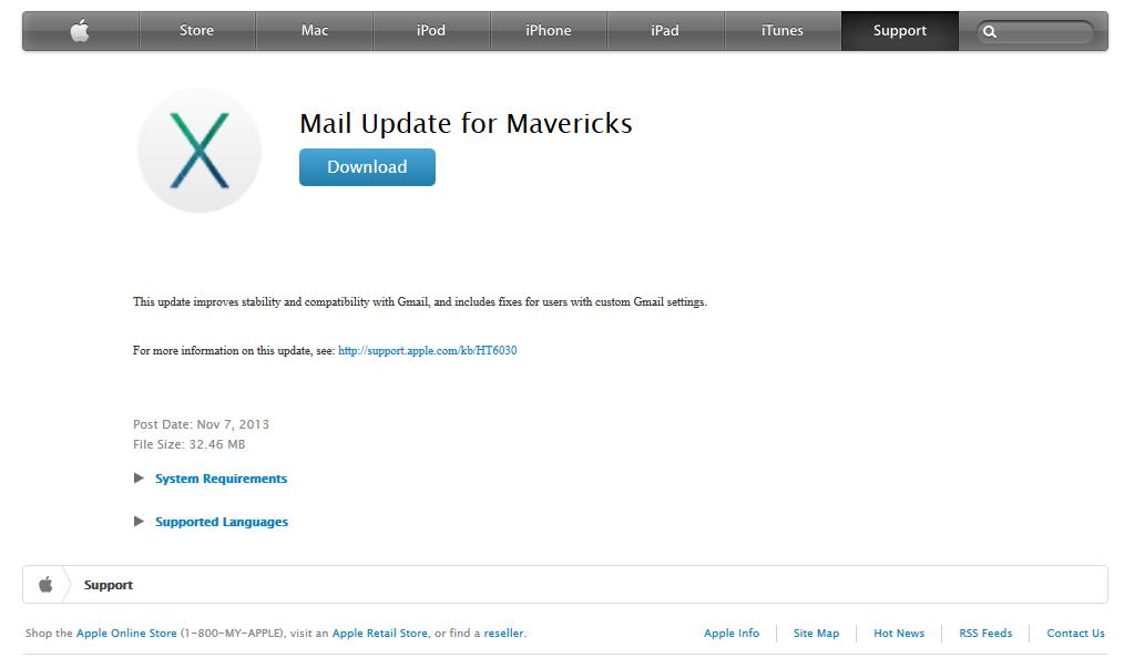 Página para update no Mail para Mavericks. (Foto: Reprodução/Apple)
