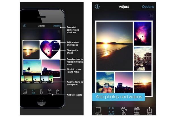 PicFrame pode ser baixado para Android, iOS e Blackberry, e tem 73 opções de molduras e formas (Foto: Reprodução/Mashable)