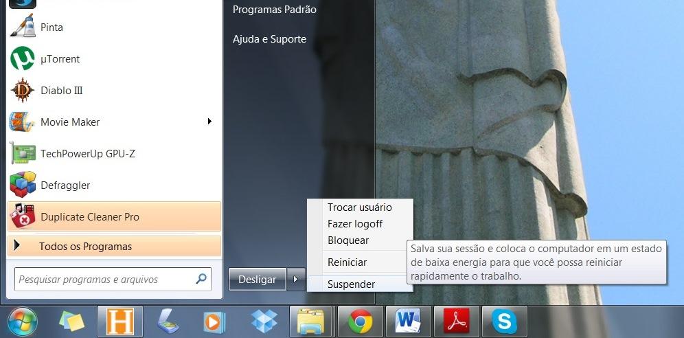 """O modo """"suspender"""" ou """"repouso""""  desativa os de componentes não vitais do PC e mantem sua memória RAM ativa (Foto: Daniel/Ribeiro)"""