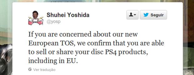 Presidente da Sony Worldwide Studios garantiu que games do PS4 poderão ser revendidos. (Foto: Reprodução/Twitter)