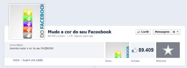 Página no Facebook promete a ensinar o usuário a mudar a cor do seu perfil na rede social (Foto: Reprodução/Lívia Dâmaso)