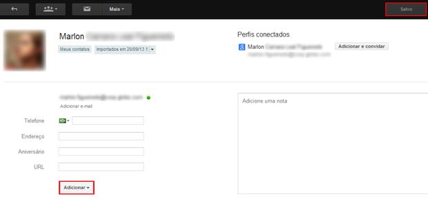 Editando contatos no Gmail (foto: Reprodução/João Kurtz)