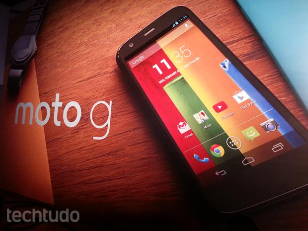 Moto G, novo smartphone do Google e da Motorola com Android, foi apresentado nesta quarta-feira (13) (Foto: Allan Melo/TechTudo)