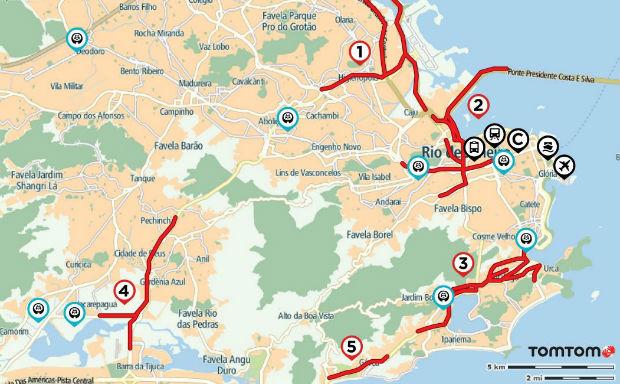 Captura de mapa do Rio de Janeiro com rotas campeãs de congestionamento. (Foto: Reprodução)