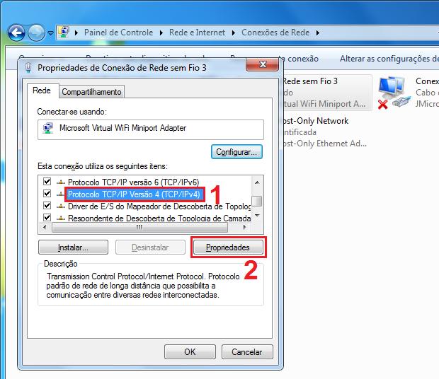 Acessando a tela de propriedades do protocolo TCP/IP (Foto: Reprodução/Edivaldo Brito)