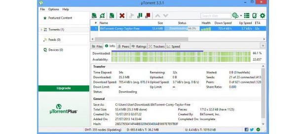 Talvez o mais famoso cliente BiiTorrent, uTorrent não deixa nada a desejar para usuários iniciantes ou veteranos