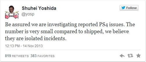 A Sony afirmou em seu Twitter que o problema com o PS4 é um caso isolado (Foto: Reprodução / Twitter)