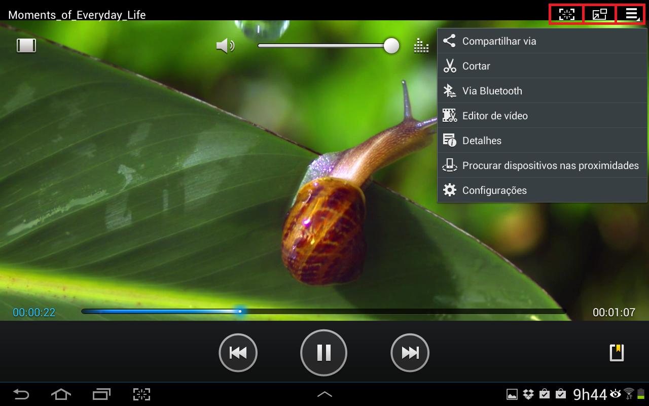 No lado direito da parte de cima do app é possível utilizar os comandos para editar e compartilhar o vídeo em execução (Foto: Reprodução/Daniel Ribeiro)
