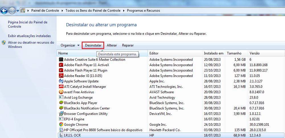 Lista dos programas instalados no Windows que podem ser deletados (Foto: Reprodução/Marcela Vaz)