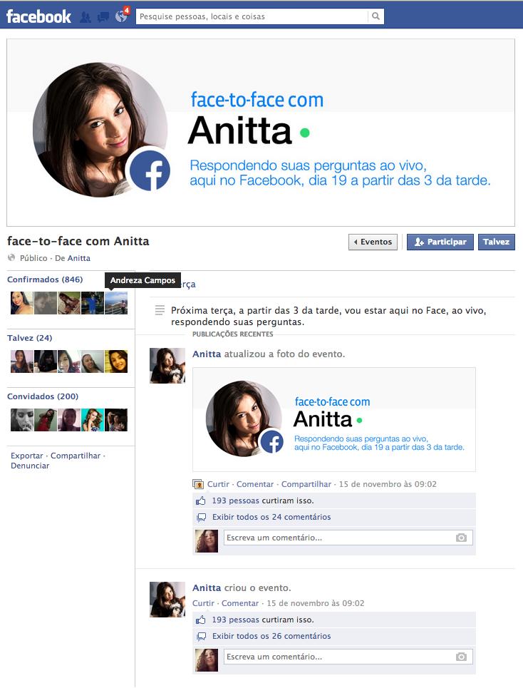 Visual do Face to Face com Anitta, no Facebook (Foto: Reprodução/Facebook)