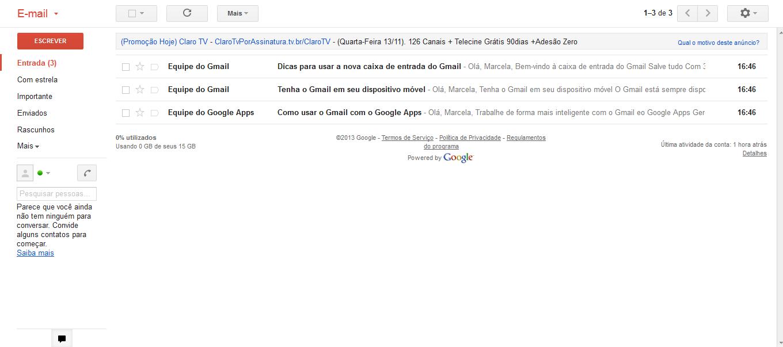 Caixa de entrada do Globomail (Foto: Reprodução/Marcela Vaz)