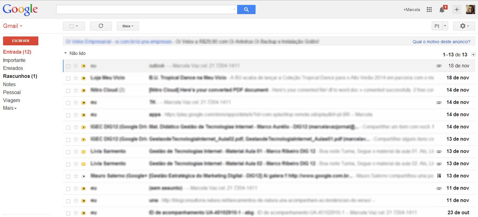 Caixa de entrada do Gmail (Foto: Reprodução/Marcela Vaz)