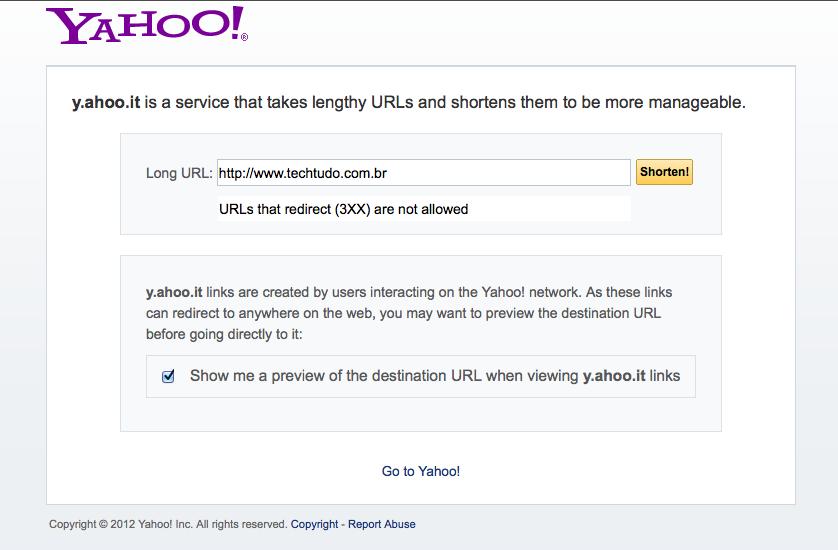 Encurtador de URL do Yahoo! vai parar de funcionar  (Foto: Reprodução/Yahoo)