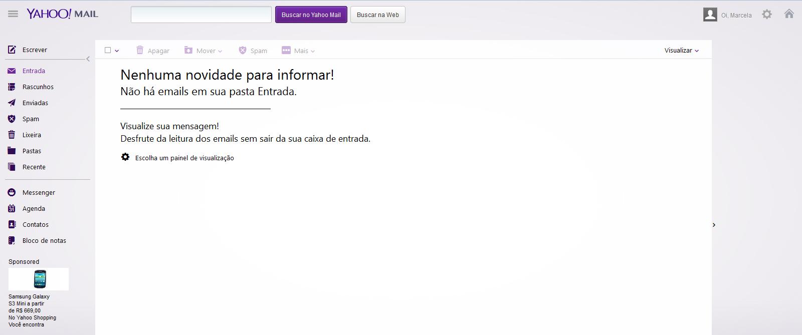 Caixa de entrada do Yahoo Mail (Foto: Reprodução/Marcela Vaz)