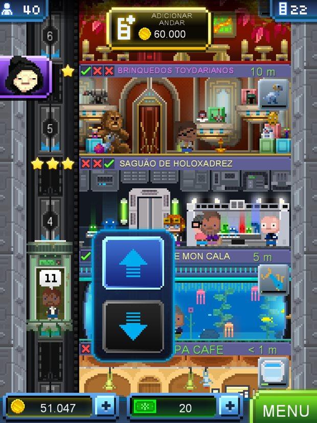 O elevador é uma das fontes de créditos no game (Foto: Reprodução/Felipe Demartini)
