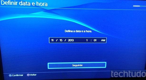 Defina o horário e a data do seu console (Foto: Reprodução/Thiago Barros)