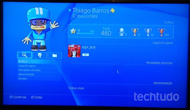 Esta é a tela de perfil da PSN (Foto: Reprodução/Thiago Barros) (Foto: Esta é a tela de perfil da PSN (Foto: Reprodução/Thiago Barros))