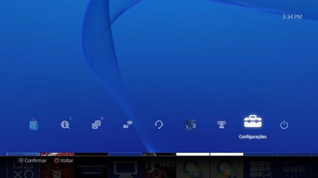Acesse o menu de configurações do PS4 (Foto: Reprodução/Thiago Barros)
