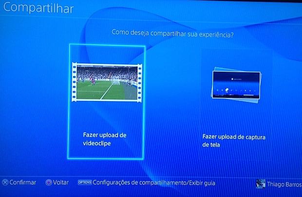 Selecione compartilhar fotos ou vídeos (Foto: Reprodução/Thiago Barros)