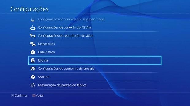 Existe um menu de idiomas nas Configurações (Foto: Reprodução/Thiago Barros)