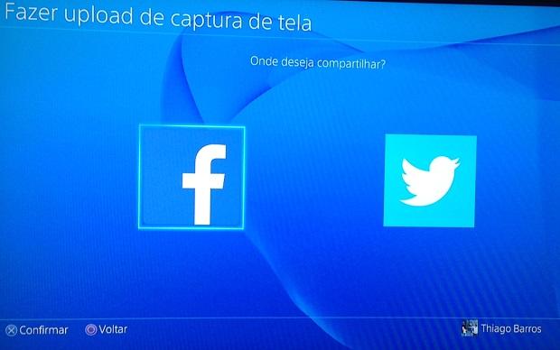 Escolha Facebook ou Twitter (Foto: Reprodução/Thiago Barros)