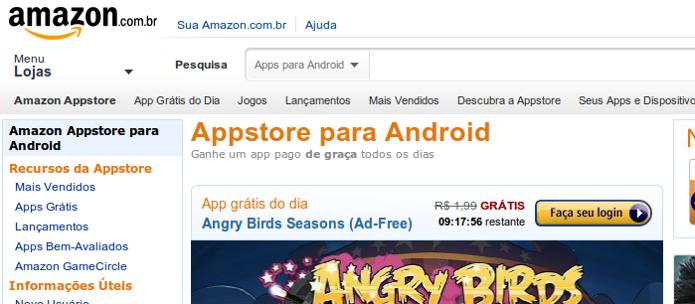 Amazon Appstore chegou hoje ao Brasil trazendo preços em reais. (Foto: Reprodução/Techtudo)