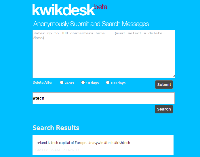 Kwikdesk permite enviar mensagens anônimas pela Internet (foto: Reprodução/João Kurtz)