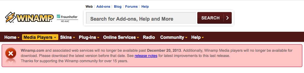Winamp será descontinuado em dezembro (Foto: Reprodução/Winamp)