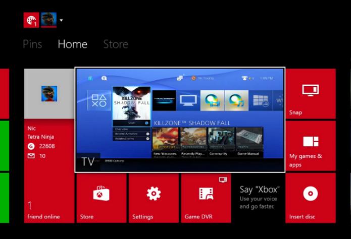 Playstation 4 rodando na interface do Xbox One. (Foto: Reprodução/Tetra Ninja)