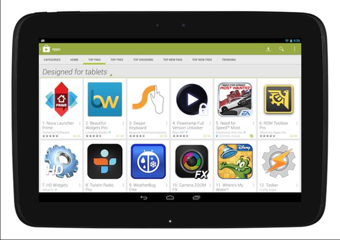 Google Play começa a separar apps feitos para tablets daqueles com versões só para telefones (Foto: Divulgação)