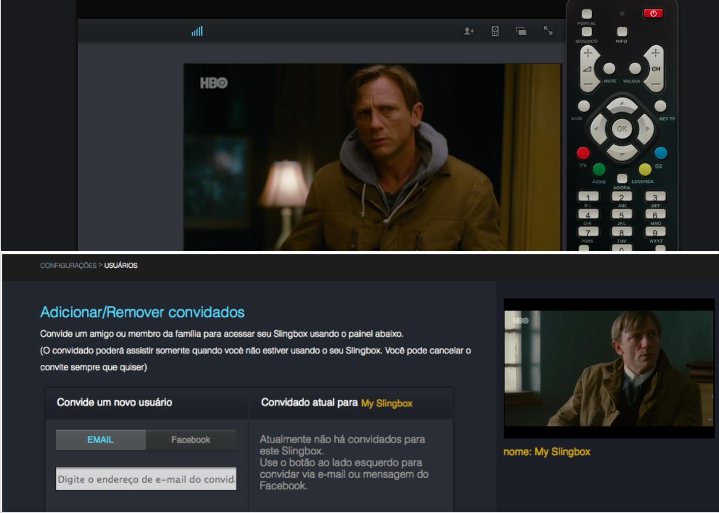Slingplayer via web funciona muito bem com controle da qualidade de imagem e convite para amigos (Foto: TechTudo/Rodrigo Bastos)